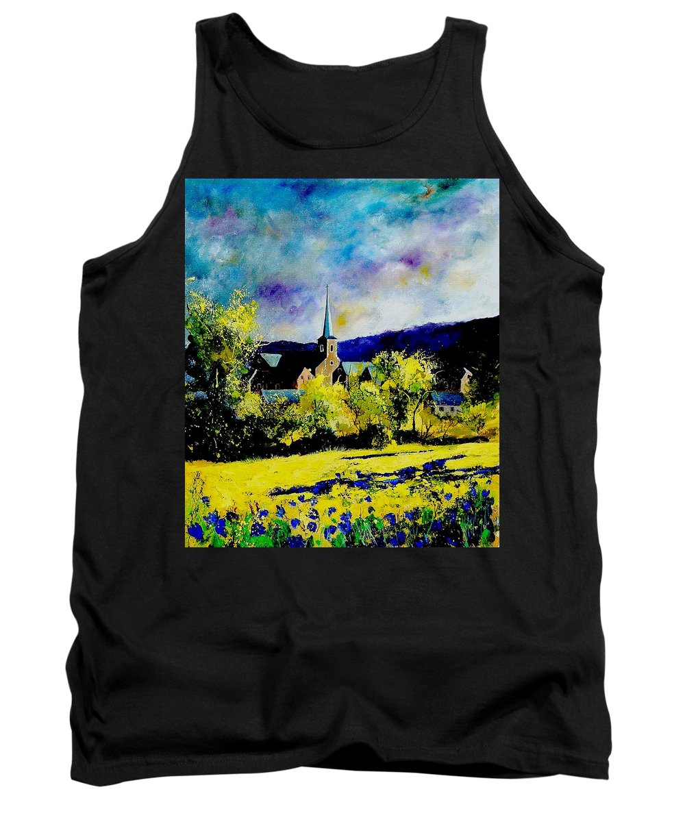 Poppies Tank Top featuring the painting Hour Village Belgium by Pol Ledent