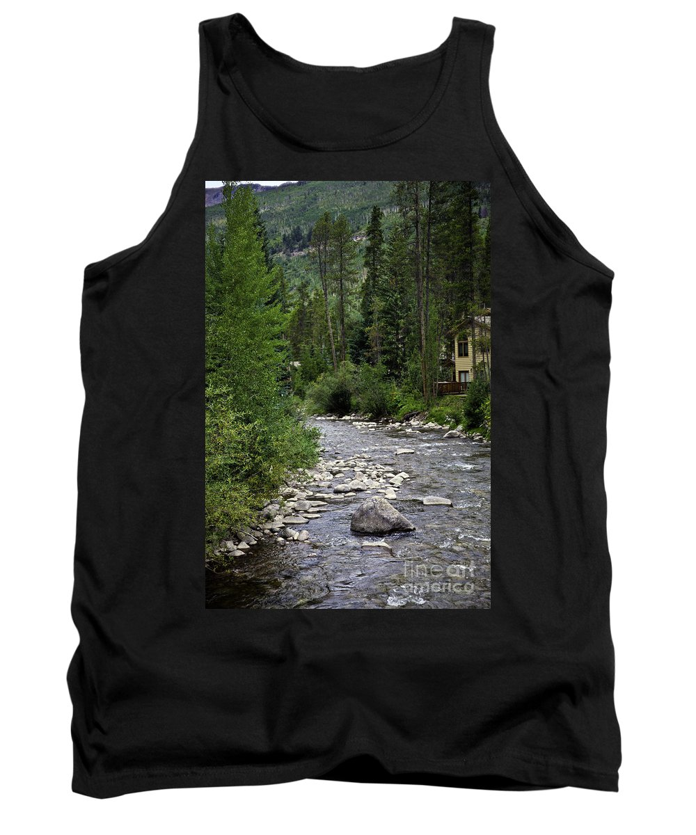 Vail Tank Top featuring the photograph House By The Stream In Vail 1 by Madeline Ellis