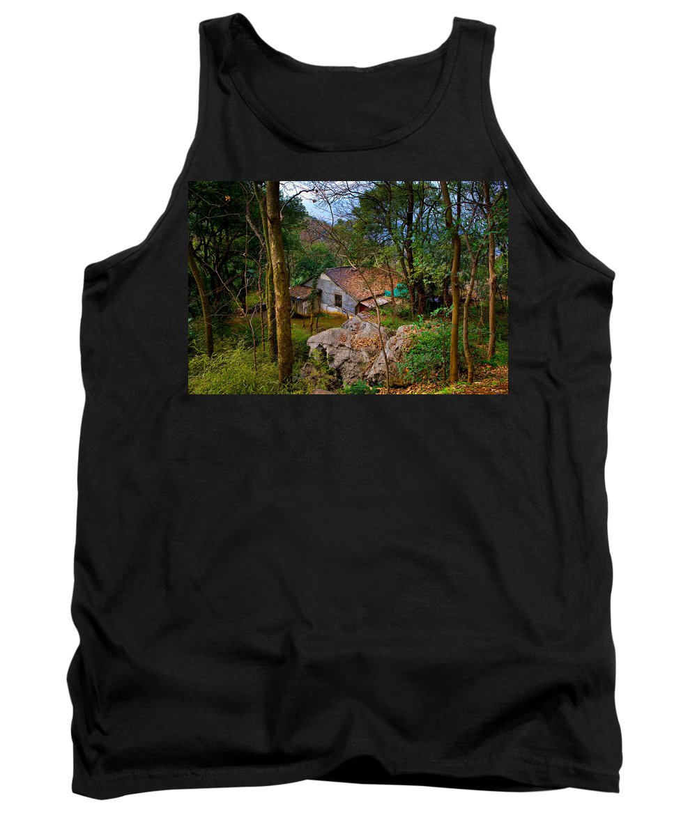 Landscape Tank Top featuring the photograph House In China Woods by James O Thompson