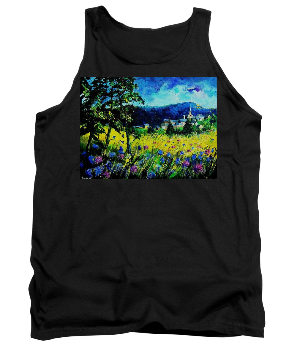 Flowers Tank Top featuring the painting Houyet 68 by Pol Ledent