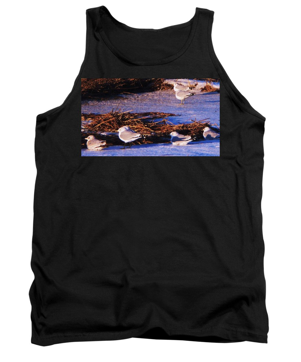 Beach Artwork Tank Top featuring the painting Huddling On A Winter Day by Eric Schiabor