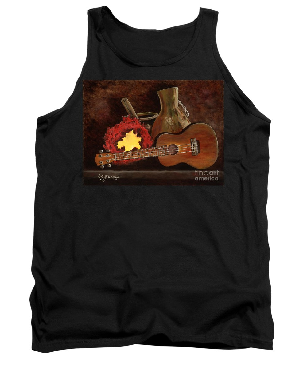 Ukelele Tank Top featuring the painting Hula Implements by Larry Geyrozaga