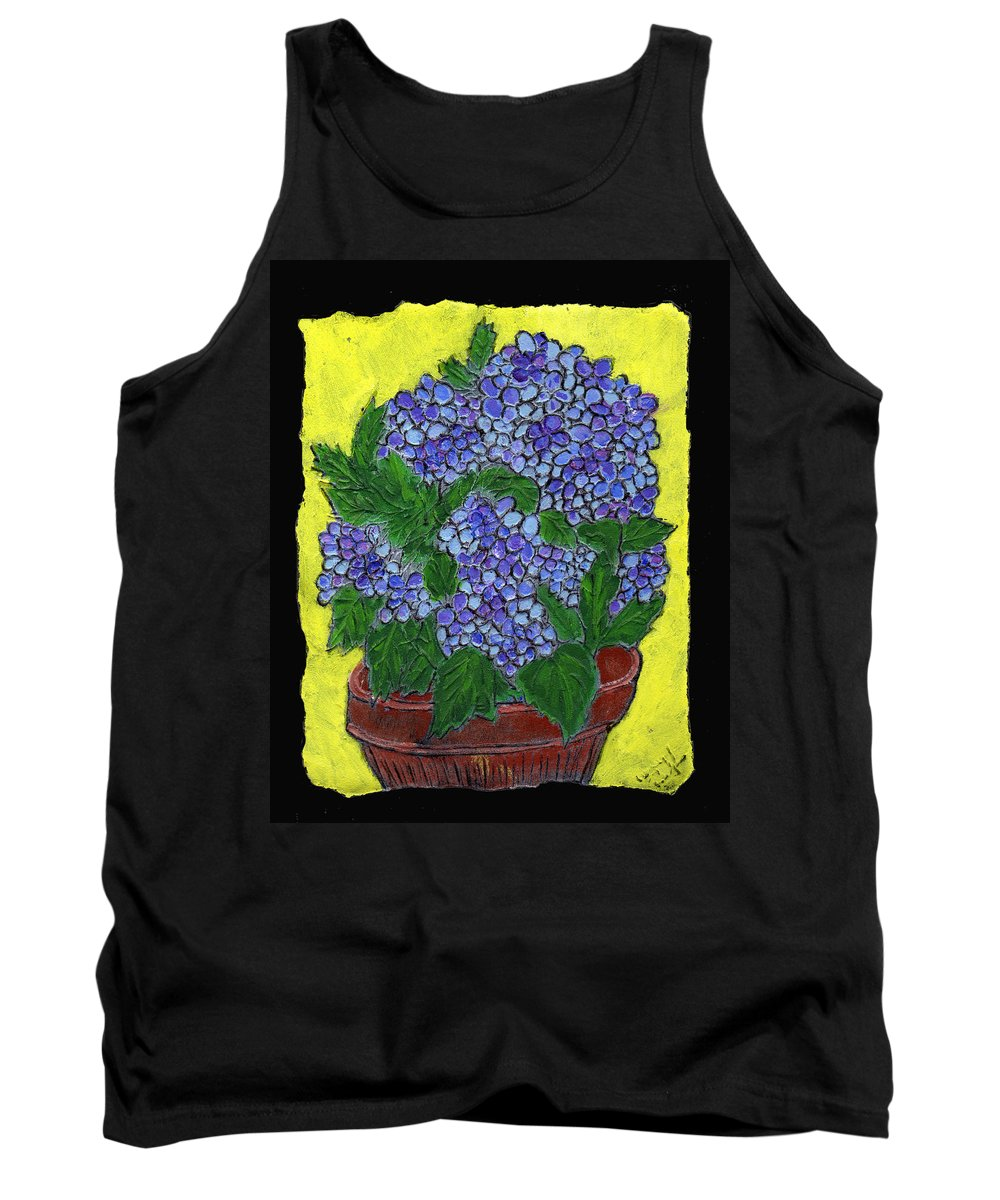 Flower Tank Top featuring the painting Hydrangea In A Pot by Wayne Potrafka