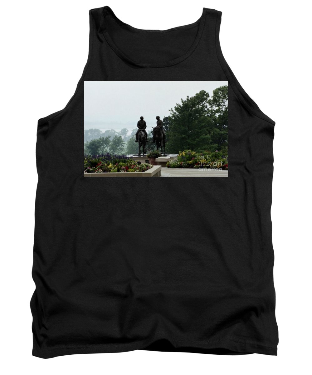 Hyrum Smith Tank Top featuring the photograph Hyrum And Joseph Smith Statue In The Mist From The Mississippi by Kim Corpany