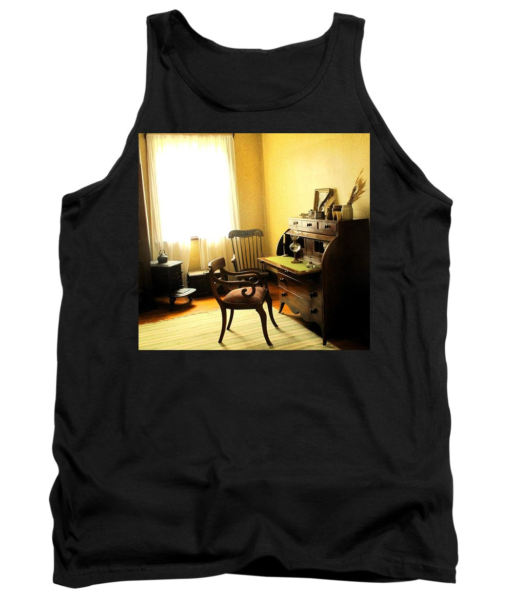 Antique Tank Top featuring the photograph I Will Be Right Back by Ian MacDonald