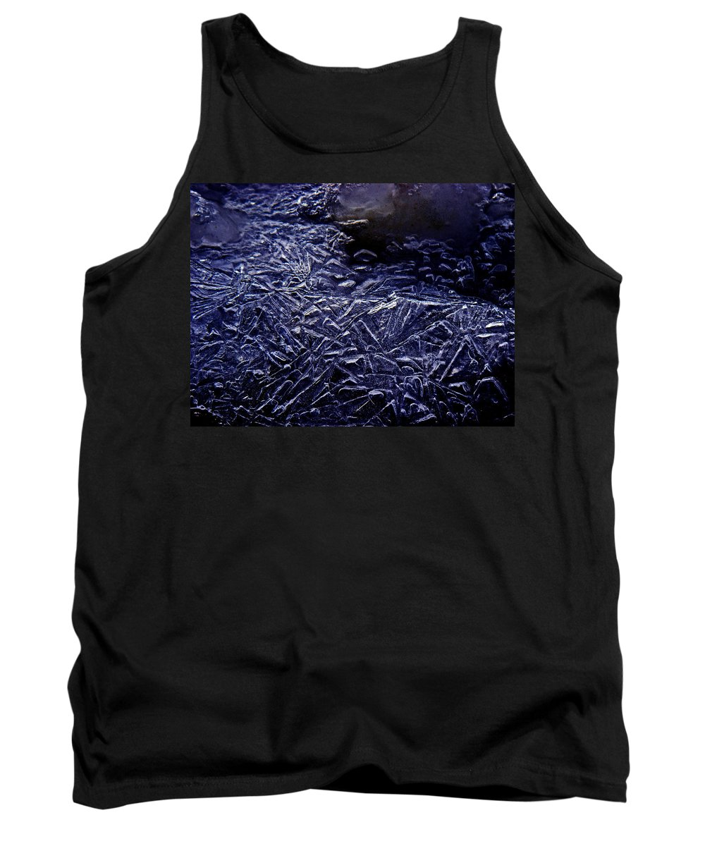 Ice Crystals Tank Top featuring the photograph Ice Crystals In River by Strato ThreeSIXTYFive