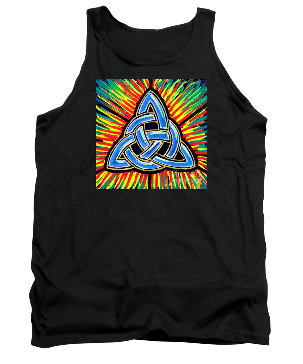 Trinity Tank Top featuring the painting Icon Celtic Trinity by Jim Harris