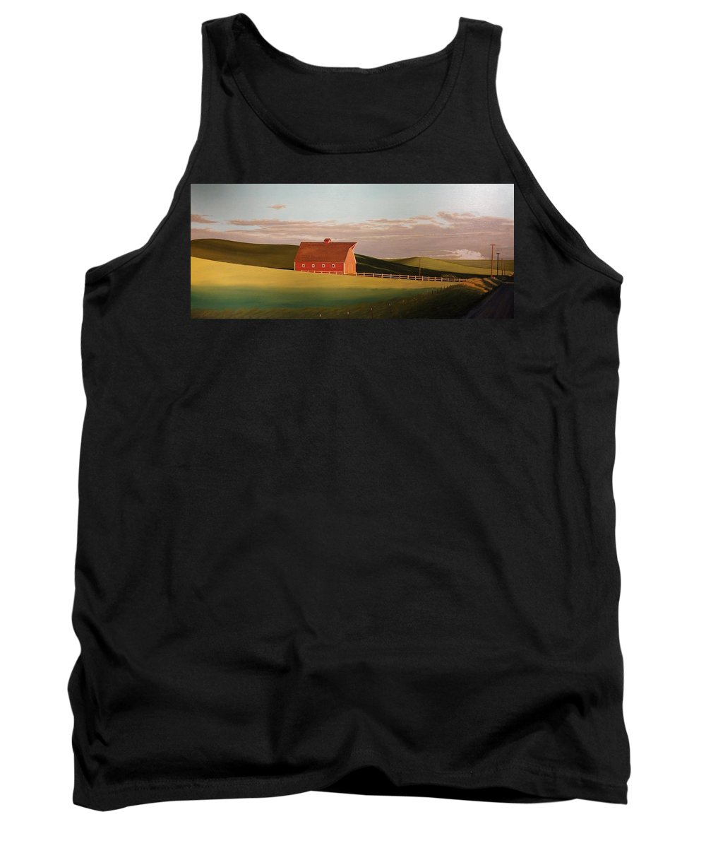 Wheat Tank Top featuring the painting Idaho Farmstead by Leonard Heid