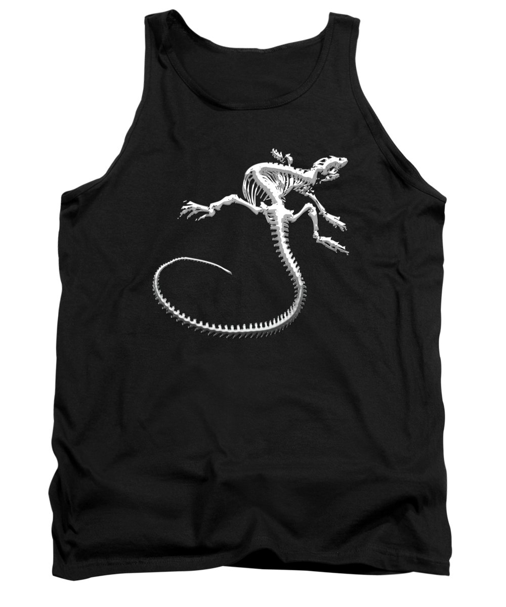 'precious Bones' Collection By Serge Averbukh Tank Top featuring the digital art Iguana Skeleton In Silver On Black by Serge Averbukh