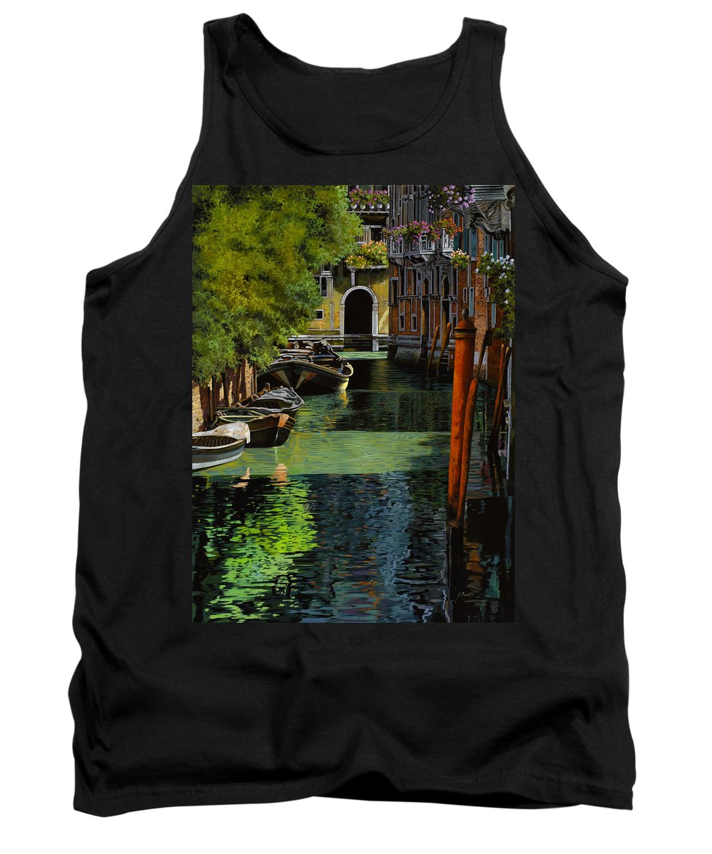 Venice Tank Top featuring the painting il palo rosso a Venezia by Guido Borelli