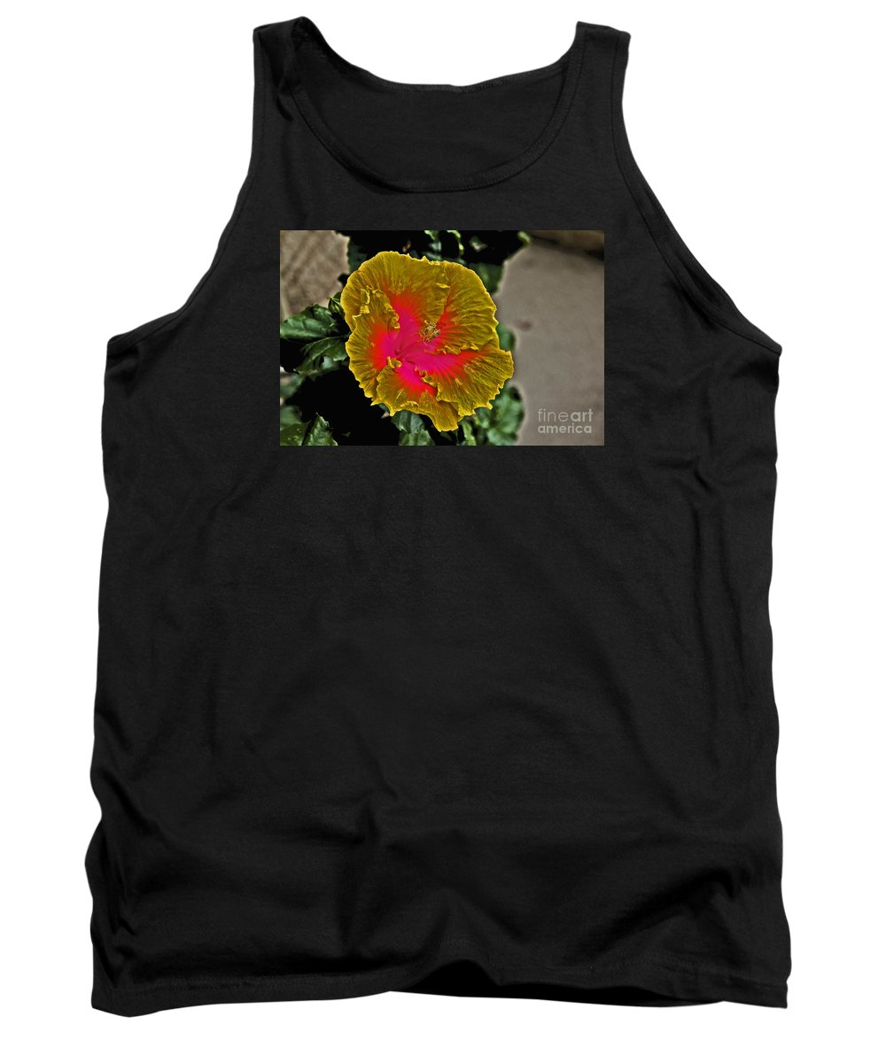 Flower Tank Top featuring the photograph Impressionistic Hibiscus Yellow And Red by David Frederick