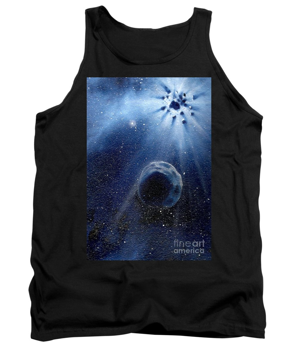 Outerspace Tank Top featuring the painting Impressive Impact by Murphy Elliott