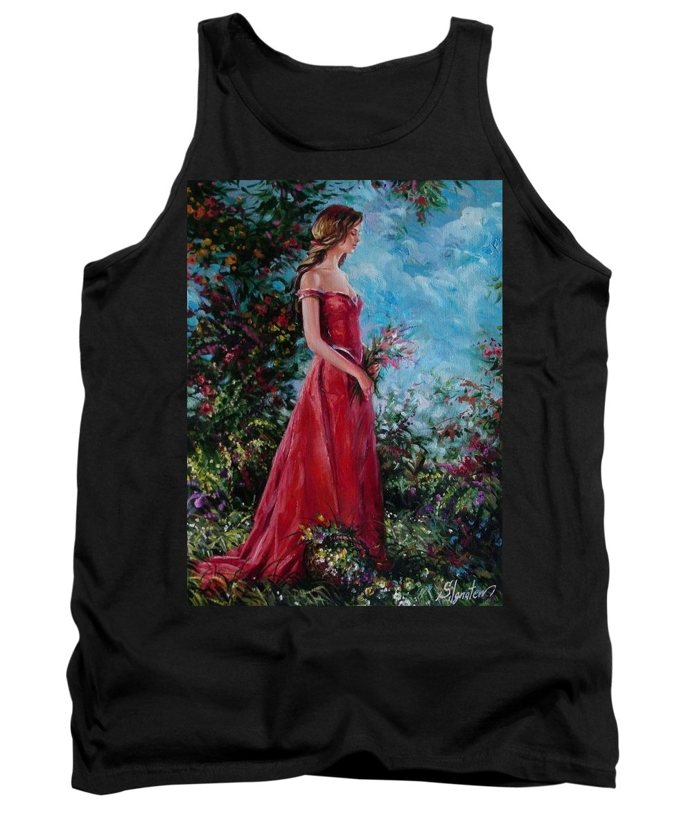 Figurative Tank Top featuring the painting In summer garden by Sergey Ignatenko
