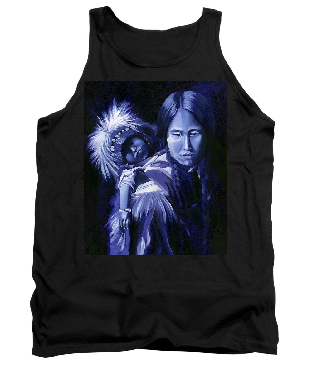 Native American Tank Top featuring the painting Inuit Mother And Child by Nancy Griswold