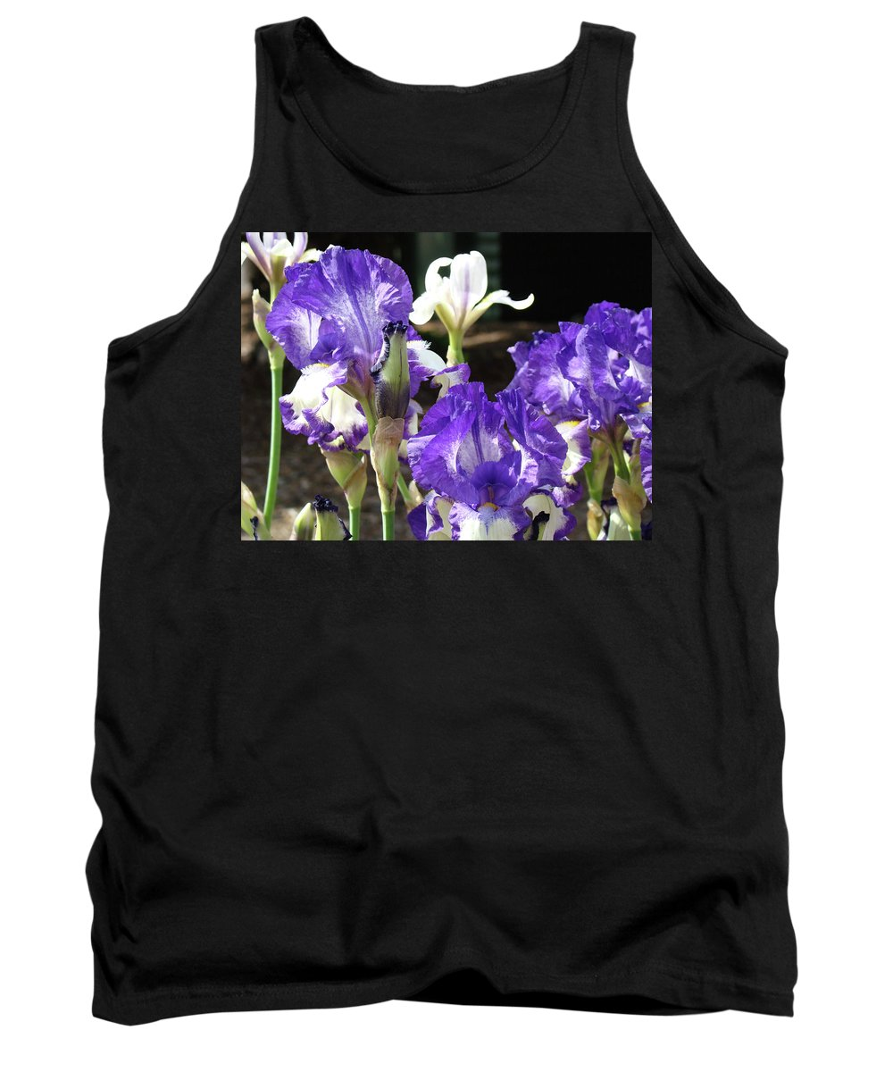Iris Tank Top featuring the photograph Iris Flowers Floral Art Prints Purple Irises Baslee Troutman by Baslee Troutman