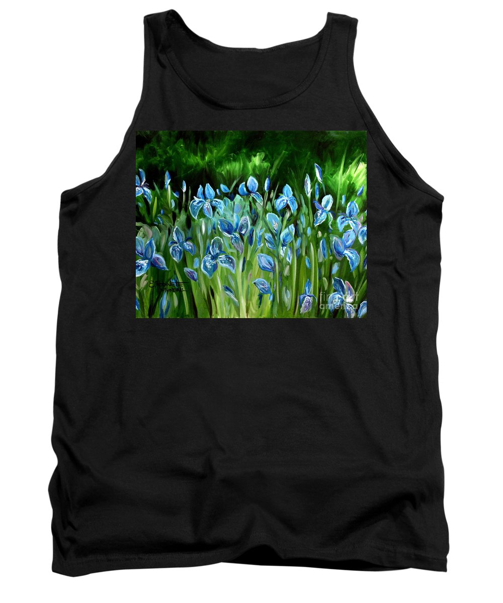 Flowers Tank Top featuring the painting Iris Galore by Elizabeth Robinette Tyndall