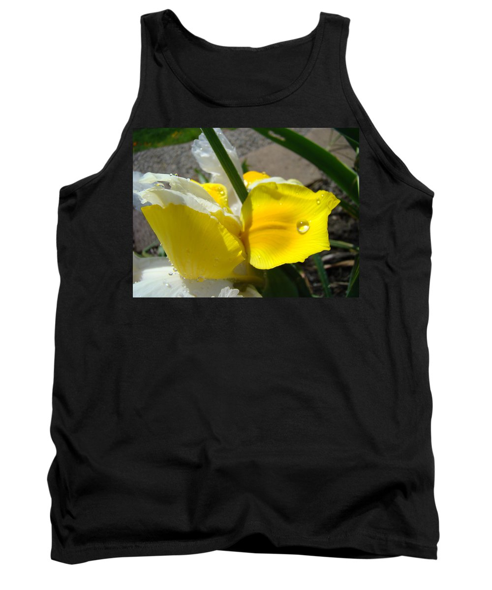 �irises Artwork� Tank Top featuring the photograph Irises Artwork Iris Flowers Art Prints Flower Rain Drops Floral Botanical Art Baslee Troutman by Baslee Troutman