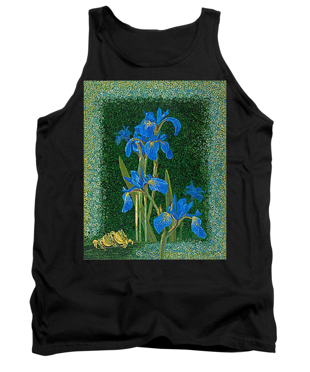 Irises Tank Top featuring the painting Irises Blue Flowers Lucky Love Frog Friends Fine Art Print Giclee High Quality Exceptional Colors by Baslee Troutman