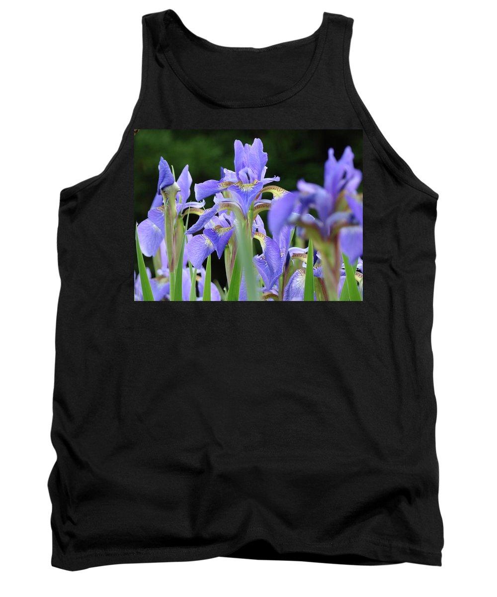 Iris Tank Top featuring the photograph Irises Flowers Art Prints Blue Purple Iris Floral Baslee Troutman by Baslee Troutman