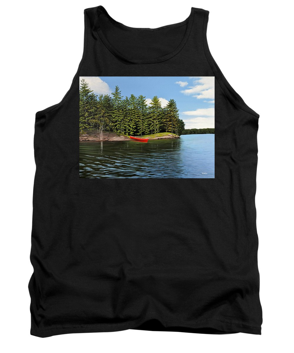 Island Tank Top featuring the painting Island Retreat by Kenneth M Kirsch