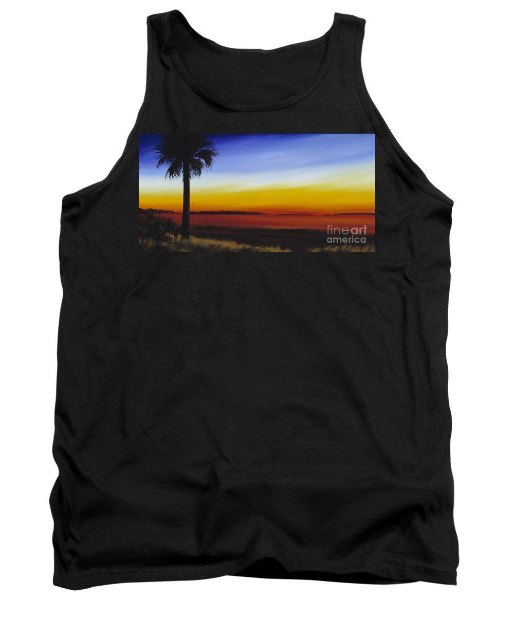 Palmetto Tree Tank Top featuring the painting Island River Palmetto by James Christopher Hill