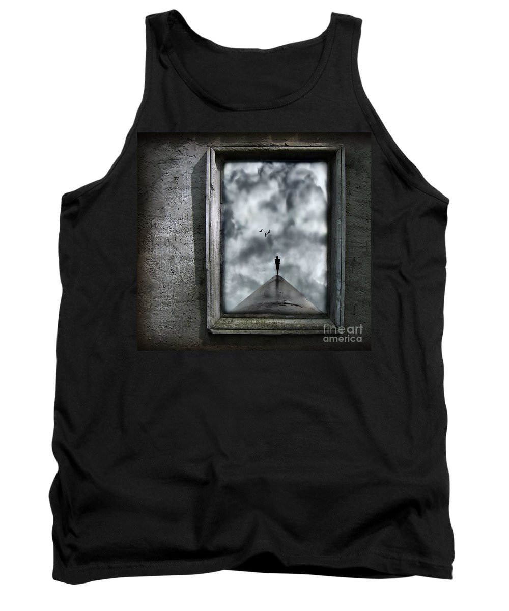 Dark Tank Top featuring the painting Isolation by Jacky Gerritsen