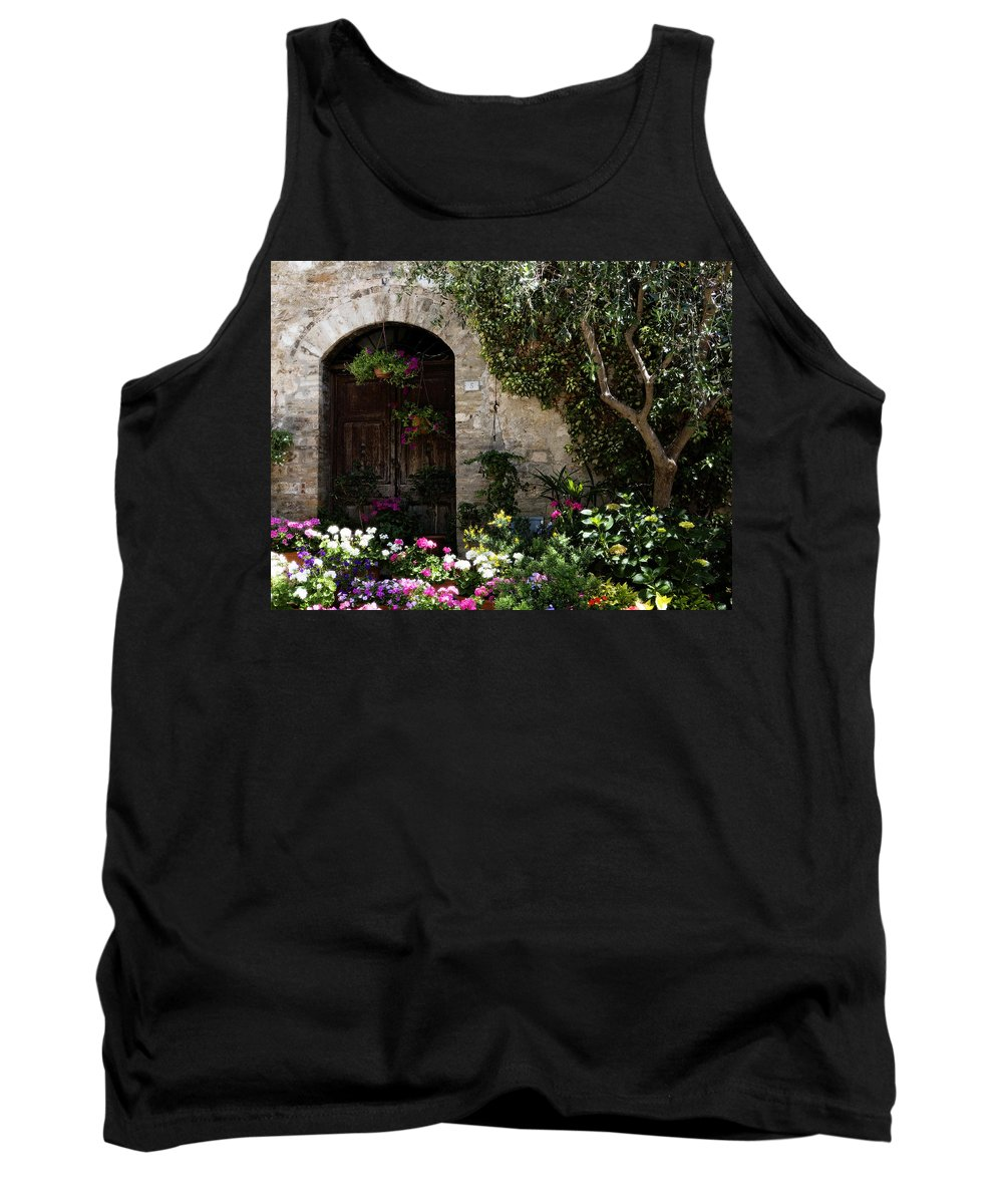 Flower Tank Top featuring the photograph Italian Front Door Adorned With Flowers by Marilyn Hunt