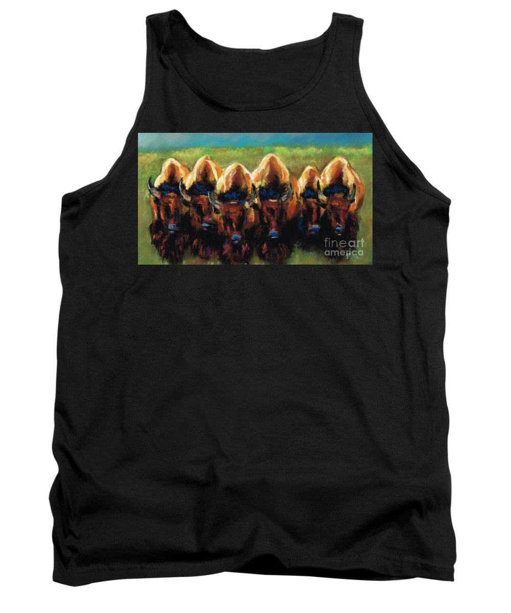 Bison Tank Top featuring the painting Its All Bull by Frances Marino