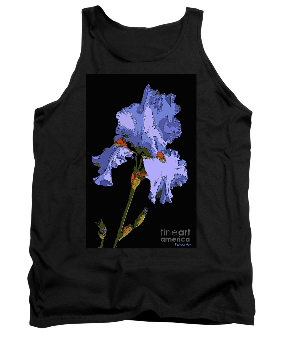 Iris Tank Top featuring the painting Japanese Iris-blue Beauty by Dragica Micki Fortuna