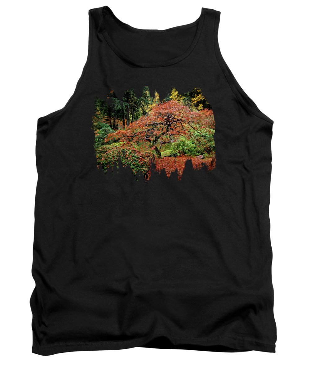 Pictures Of Japanese Gardens Tank Top featuring the photograph Japanese Maple At The Japanese Gardens Portland by Thom Zehrfeld