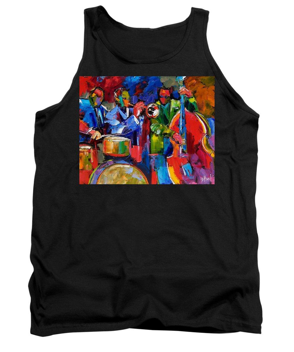 Jazz Tank Top featuring the painting Jazz Beat by Debra Hurd