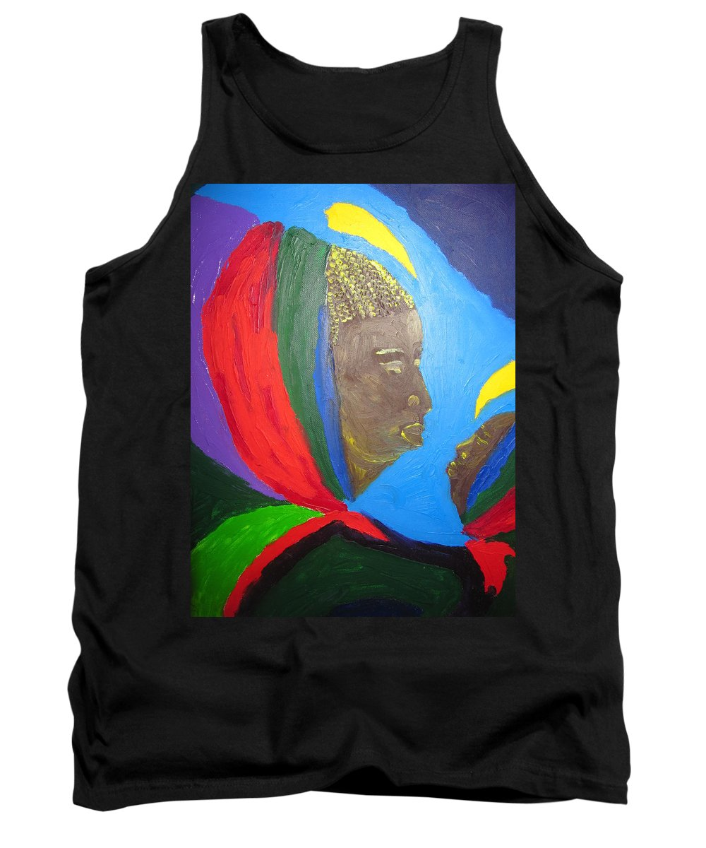 Jesus Tank Top featuring the painting Jesus And His Mother Mary by Gloria Ssali