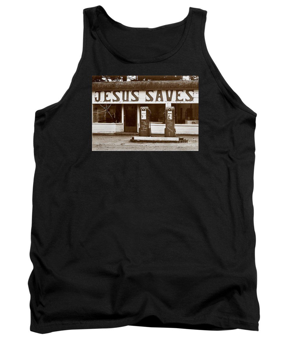 Jesus Tank Top featuring the photograph Jesus Saves 1973 by Michael Ziegler
