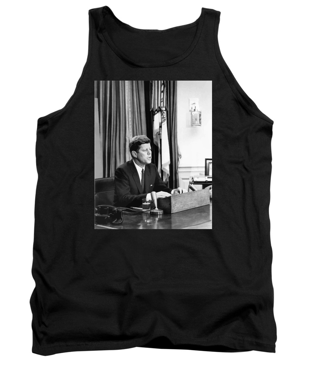 Jfk Tank Top featuring the painting Jfk Addresses The Nation Painting by War Is Hell Store
