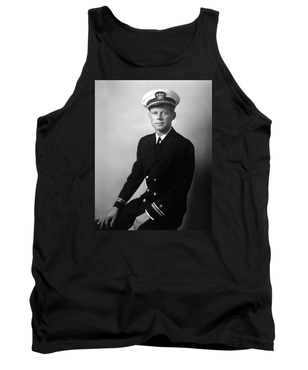 Jfk Tank Top featuring the painting Jfk Wearing His Navy Uniform Painting by War Is Hell Store
