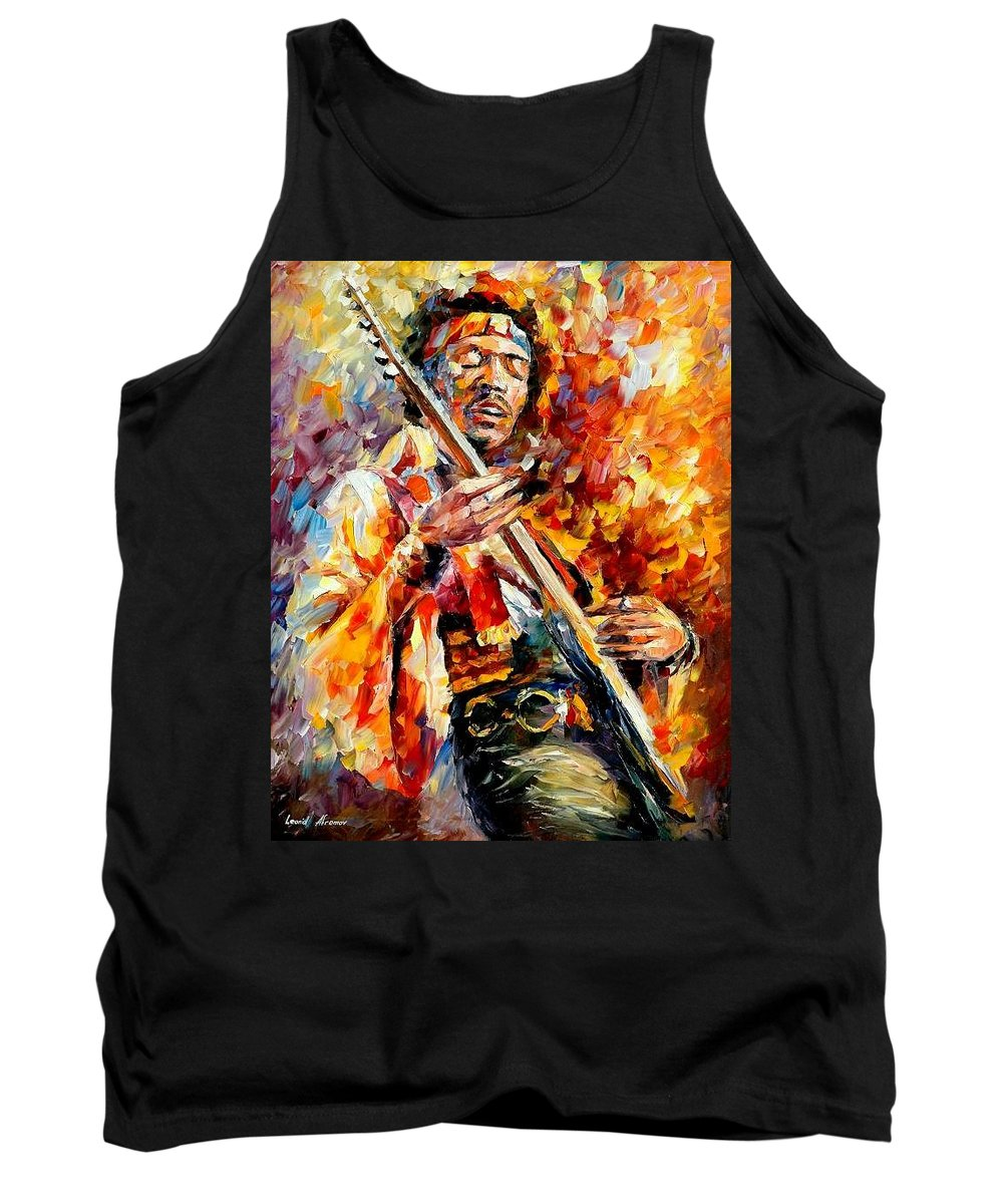 Music Tank Top featuring the painting Jimi Hendrix by Leonid Afremov