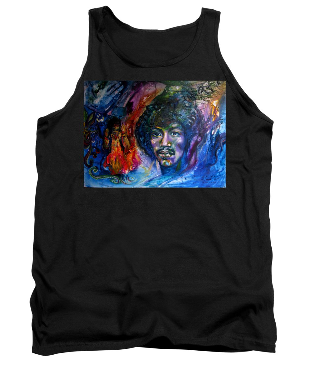 Music Tank Top featuring the painting Jimi Hendrix by Sofanya White