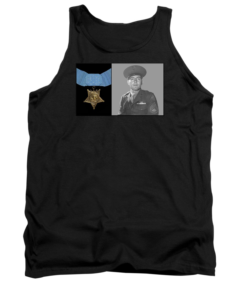 Medal Of Honor Tank Top featuring the painting John Basilone And The Medal Of Honor by War Is Hell Store