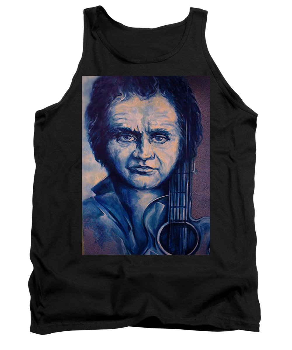 Johnny Cash Original Painting Tank Top featuring the painting Johnny by Lloyd DeBerry