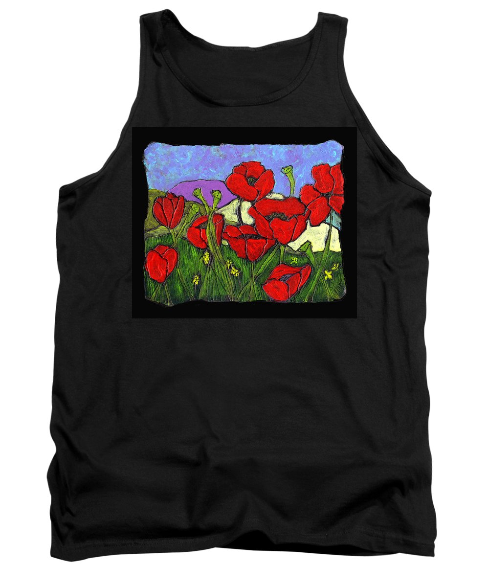 Poppies Tank Top featuring the painting June Poppies by Wayne Potrafka