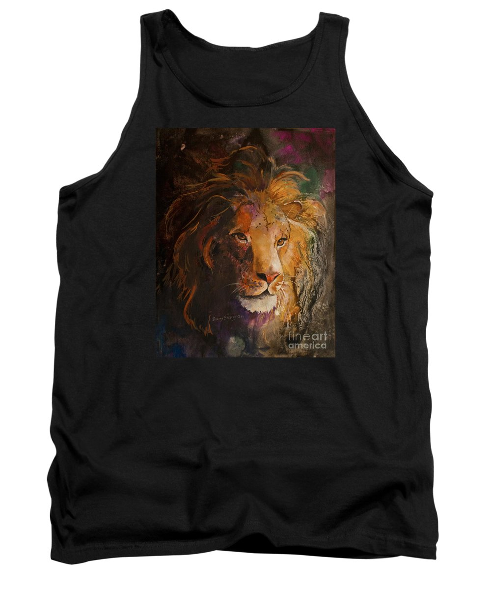 Lion Tank Top featuring the painting Jungle Lion by Sherry Shipley