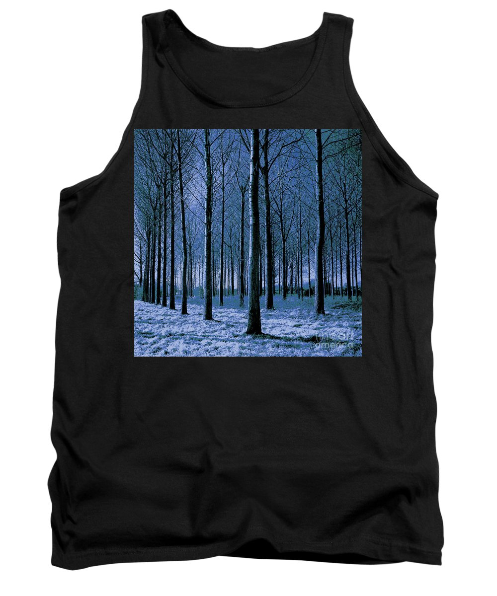 Painting Tank Top featuring the painting Jungle Trees In Blue by Gull G