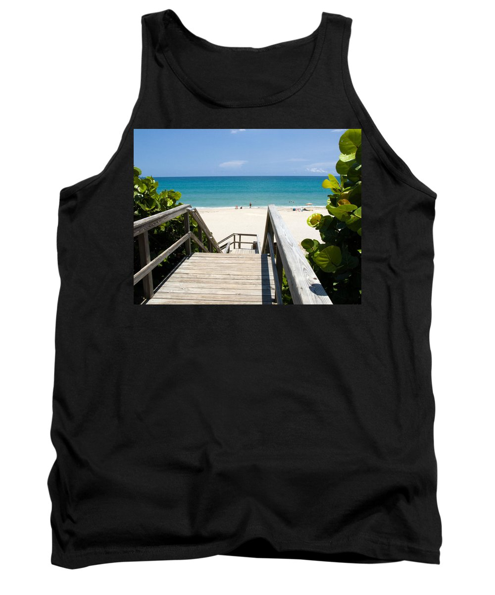 Juno; Florida; Loxahatchee; River; Jupiter; Inlet; Swim; Swimming; Children; Girl; Boy; Woman; Man; Tank Top featuring the photograph Juno Beach Florida by Allan Hughes