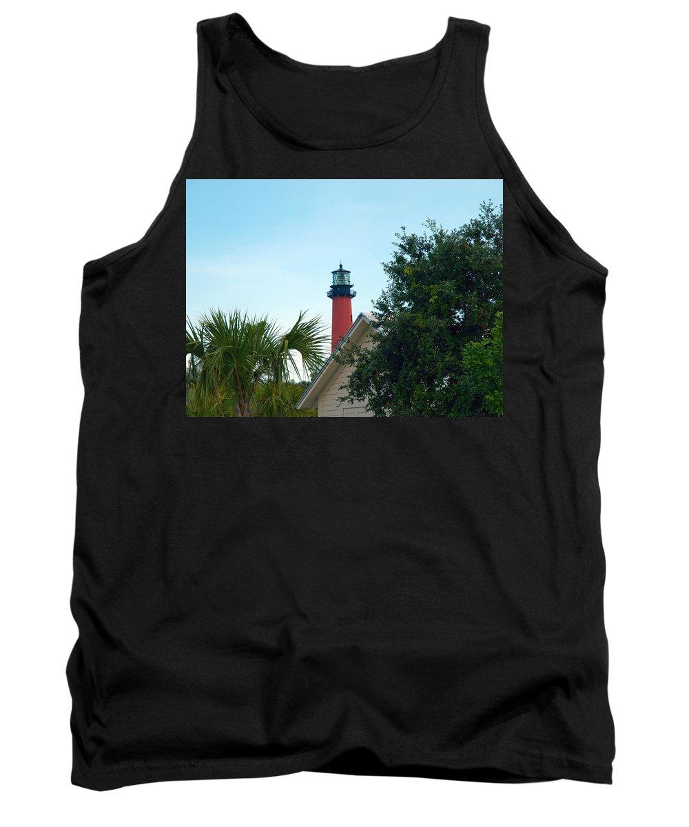 Florida; Juptier; Inlet; Loxahatchee; River; Atlantic; Coast; Shore; Beach; Light; Lighthouse; Beaco Tank Top featuring the photograph Jupiter Light by Allan Hughes