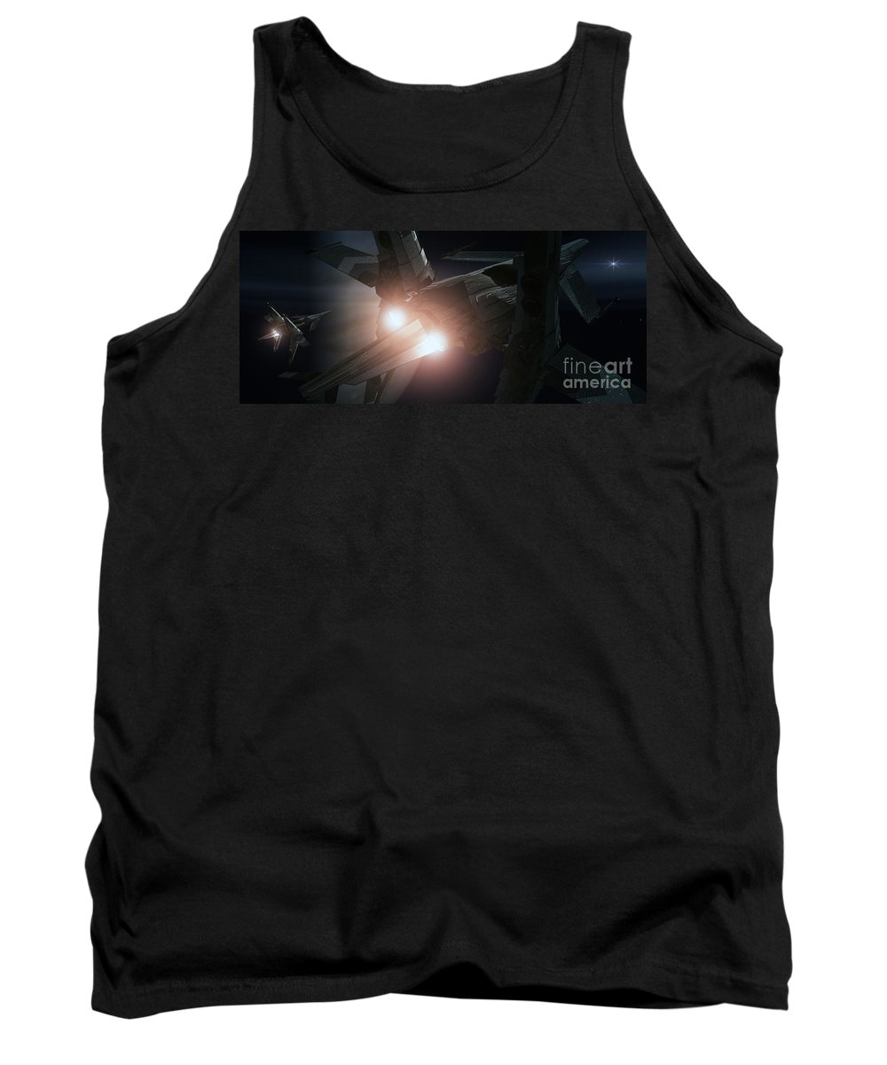Space Tank Top featuring the digital art Jupiter Patrol by Richard Rizzo