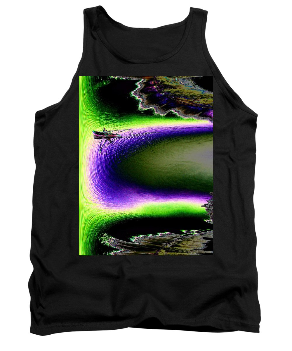 Seattle Tank Top featuring the digital art Kayak In The Cut by Tim Allen