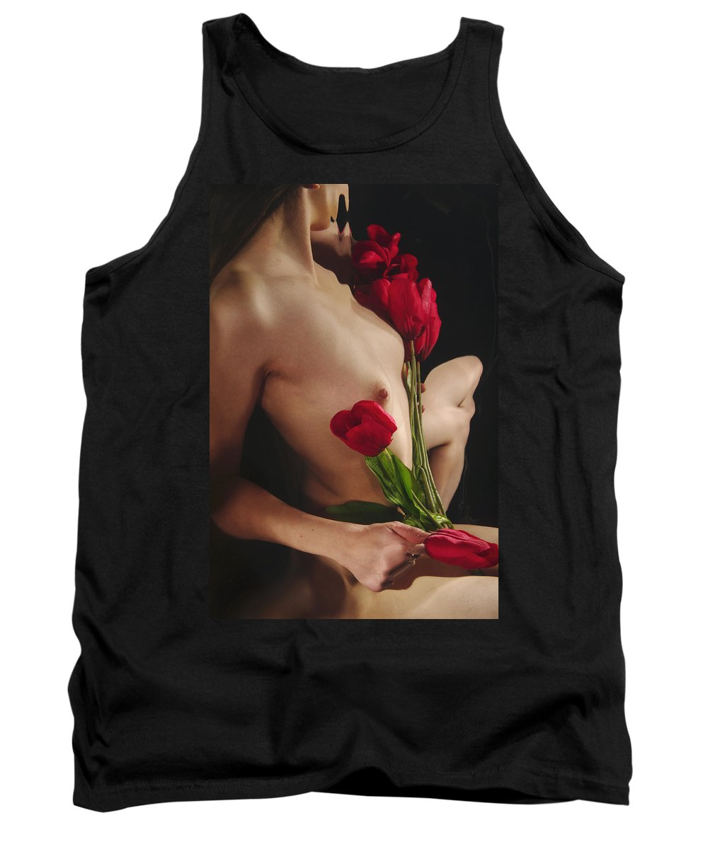 Female Nude Abstract Mirrors Flowers Tank Top featuring the photograph Kazi1126 by Henry Butz