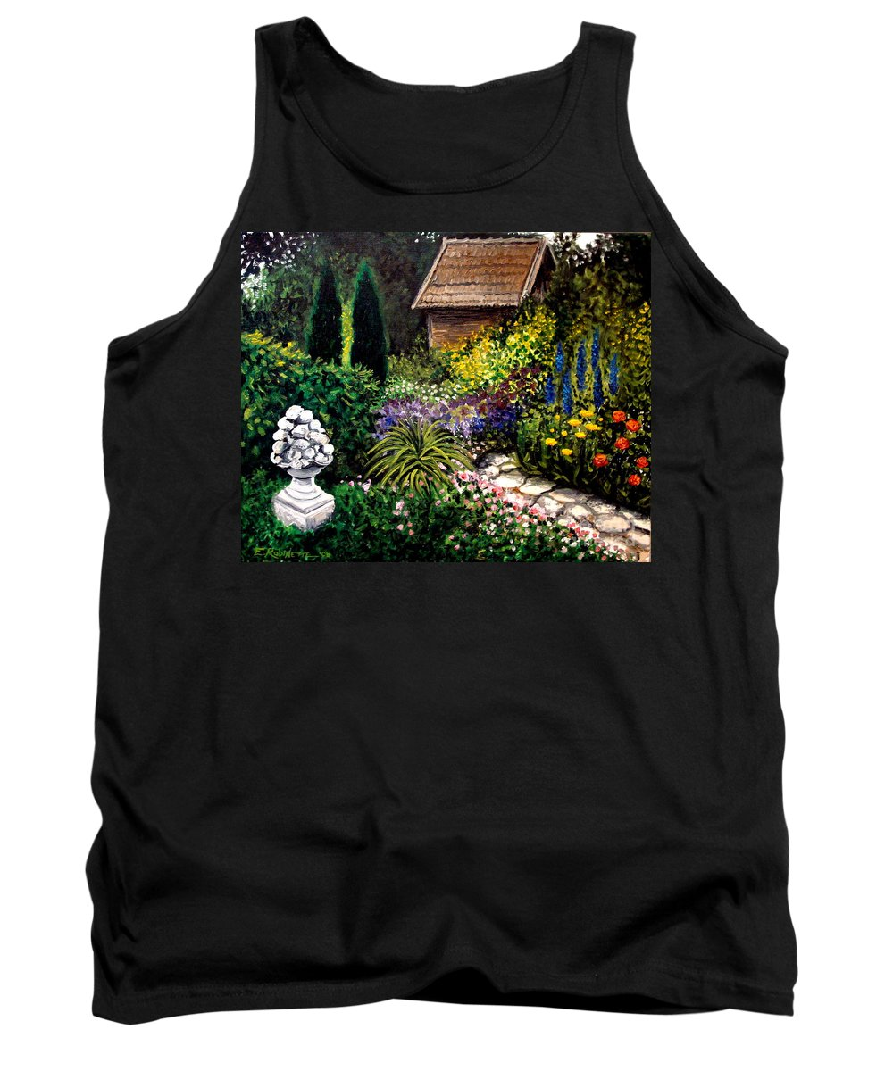 Landscape Tank Top featuring the painting Keeper Of The Garden by Elizabeth Robinette Tyndall