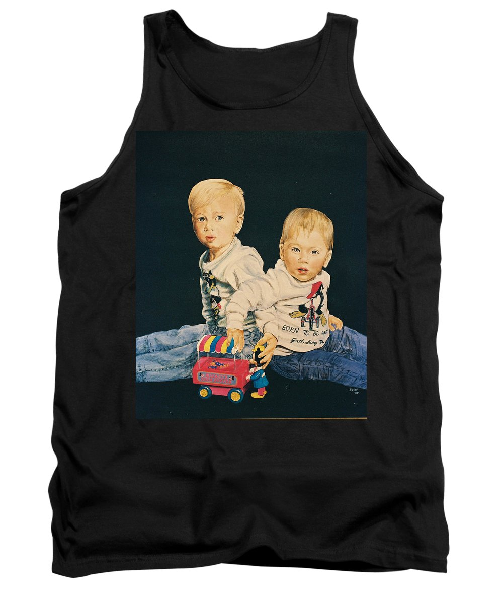 Kids Tank Top featuring the painting Kids by Bryan Bustard