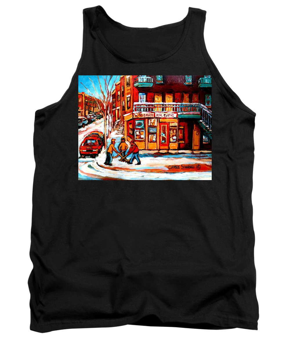 Montreal Streetscene Tank Top featuring the painting Kik Cola Depanneur by Carole Spandau